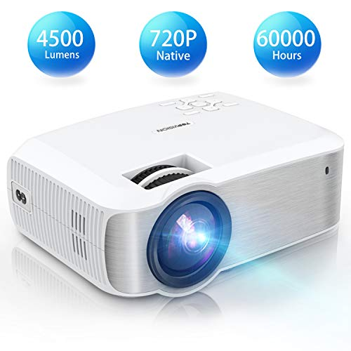 TOPVISION Mini Beamer, Native 720P Heimkino Beamer Unterstützt 1080P Full HD, 4500 Lumen Video Beamer mit 240'' Display, 60000 Stunden LED Projektor Kompatibel mit HDMI/USB/SD/AV/VGA