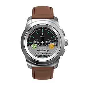 Noise NoiseFit Fusion Hybrid Smart Watch 44mm dial Size with Leather Strap (Vintage Brown) and Extra Silicone Strap(Black)
