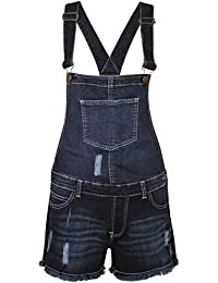 Womens Ladies Denim Style Dungaree Shorts Dress Jumpsuit Size 8 10 12 14 16 Monica