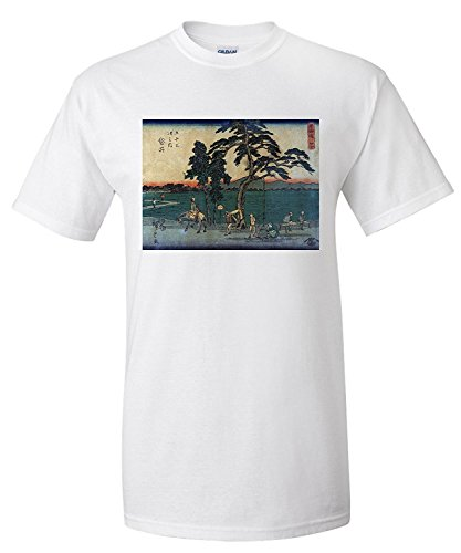 Travelers Resting and Cooking near the Fukuroi Station Japanese Wood-Cut Print (Premium T-Shirt) (Cooking-station)