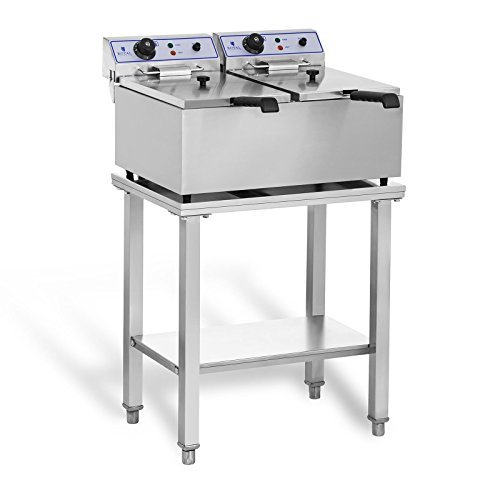Royal Catering RCEF-SET2 Set Freidora Electrica Profesional Doble con Estante (2 x 17 L, 2 x 3.000 W, Dimensiones estante 62 x 42 cm) Acero inoxidable