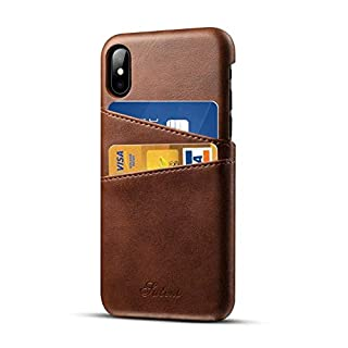 Airart iPhone XS Max Leather Case with Cards Holder, Premium Vintage Wallet Case, Ultra Slim Professional Executive Snap On Back Cover Compatible iPhone XS Max - Brown