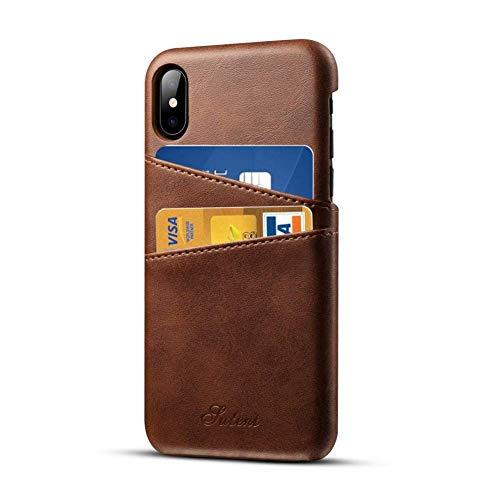 Pierre Cardin Case iPhone X iPhone XS Leder Hülle mit Kartenhalter, Airert Prämie Jahrgang Brieftasche, Ultra Schlank Zurück Abdeckung kompatibel Apple iPhone X/XS - Braun Iphone Executive Leather Case