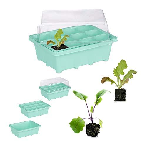 Relaxdays Zimmergewächshaus 12 Pflanzen, Deckel, Mini Gewächshaus, Fensterbank, Balkon, Anzuchtschale 18,5x14,5 cm, grün
