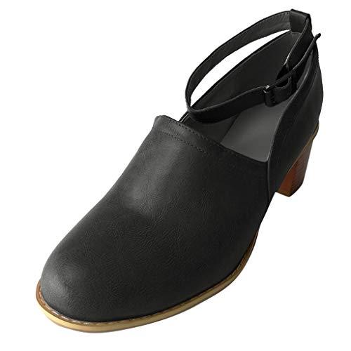 LILIHOT Damen Sommer Sandaletten KnöChelriemen Runde High Heel Sandalen Single Boot Clogs Freizeitschuhe Retro RöMersandalen Abendschuhe Rockabilly Hochzeit Schuhe