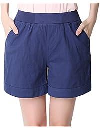 YiLianDa Mujeres De Tallas Grandes Suelto Pantalones Cortos De Cintura Elástica
