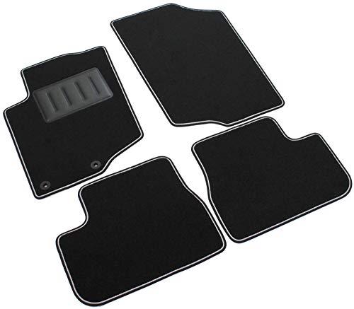 Il Tappeto Auto SPRINT00002 Tapis antidérapants en moquette noire, bord bicolore, protège-talon renforcé en caoutchouc