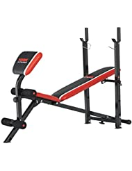 York Fitness Unisex Warrior 2en 1Banco de pesas y AB Plus Curl, rojo/negro/blanco