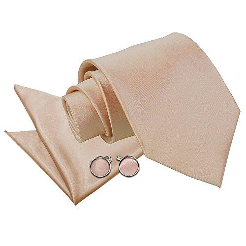 New DQT da uomo in Satin, confezione tascabile & Cuff-Daddy-Gemelli a forma quadrata, Mocha Brown, Taglia unica