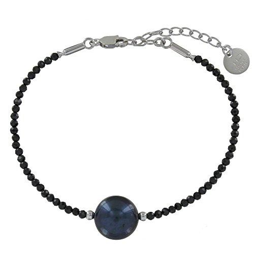 Gioello Les Poulettes - Bracciale Argento Rodiato Perle di Cultura Grigio Nero e Spinello