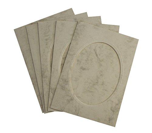 Rössler 220732506 Coloretti Karten, B6, Passepartout oval, 5 Stück, chamois marmora