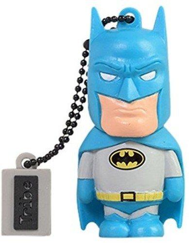 Tribe dc comics action figure batman chiavetta usb da 16 gb pendrive memoria usb flash drive 2.0 memory stick, idee regalo originali, figurine 3d, archiviazione dati usb gadget in pvc con portachiavi - multicolore