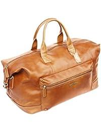 Sac fourre-tout rectangulaire - unisexe - véritable cuir italien - marron - voyage/taille cabine ar3UX