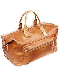 Sac fourre-tout rectangulaire - unisexe - véritable cuir italien - marron - voyage/taille cabine