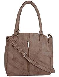 CFI Khaki Synthetic Leather Sling Bag For Women / Girls