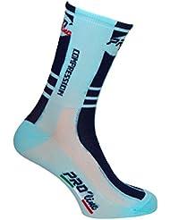 Pro-Line - Calcetines de compresión para ciclismo, color negro, celeste y blanco, 1 par