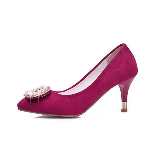 AllhqFashion Femme Dépolissement Tire Pointu à Talon Correct Couleur Unie Chaussures Légeres Rose Tendre