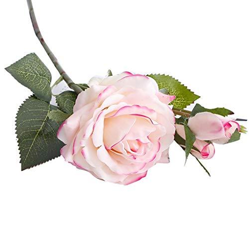 2 Köpfe künstliche gefälschte Voll Blooming Rose Blumen-Blumenstrauß Home Office Hochzeit Dekoration Land-Art Regard L (Land Hochzeit Dekorationen)