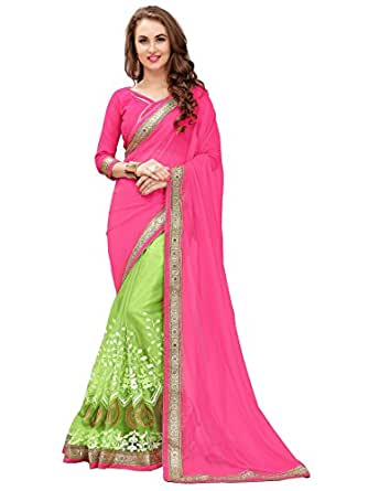 Saree Corner Women's Embroidered Green Half And Half Georgette And Net Saree With Blouse Material