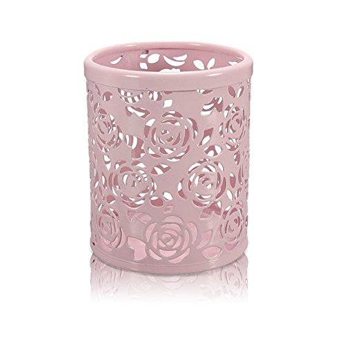 Leisial Seau de Rangement pour pinceaux de Maquillage Porte-Stylo en métal Boîte à Crayons Rose 10 * 8cm