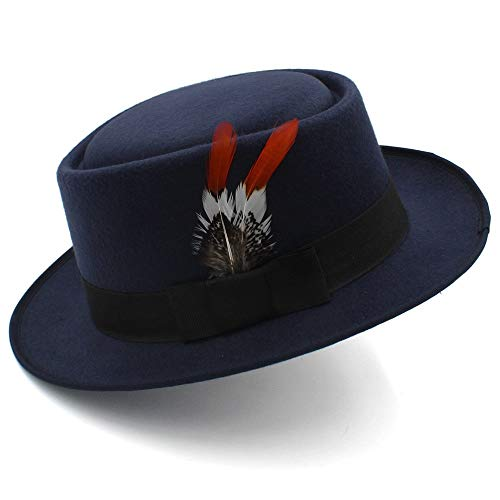 VAXT Senden Frauen Männer Pork Pie Hut Für Papa Winter Fedora Hut Gentleman Monotone Bowler Porkpie Top Hat Leder (Farbe : Dunkelblau, Größe : 56-58cm)
