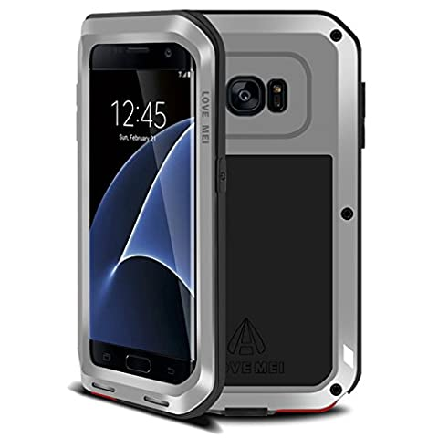 Samsung Galaxy S7 Edge Metal Etui - Love Mei Metal Etui Housse Coque Rigide Cover Verser Samsung Galaxy S7 Edge Argent