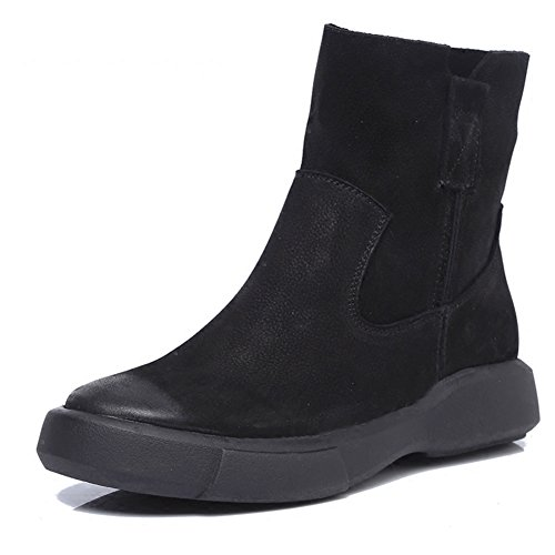 PENGFEI Stivaletti Balestruccio Autunno E Inverno Antiscivolo Taglia Larga Da Donna 2 Colori E Spessore ( Colore : Winter black , dimensioni : EU37/UK5/L:235mm ) Autumn black