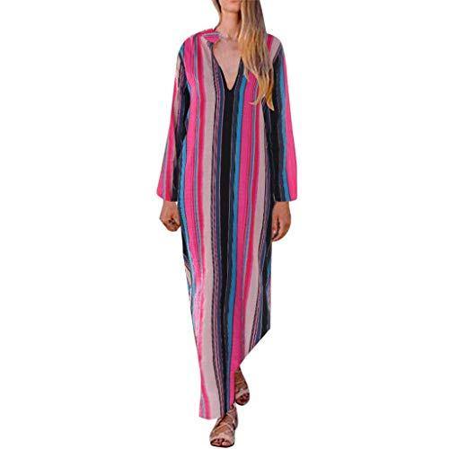 MAYOGO Damen Herbst Kleid Damen Langarm Streifen Neon Kleid Farbverlauf Ombre Kleid Batikfarbe Batik Kleid, Damen Lange Gestreifen Bunte Sommerkleider Maxikleider