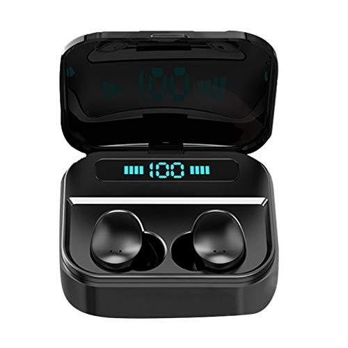 Glowjoy Bluetooth Kopfhörer TWS True Wireless Stereo Kopfhörer,5.0 Bluetooth Ohrhörer Mini Bluetooth SoundBuds Schweißfestes IPX7 Wasserdicht Wireless Headset mit Mikrofon und Ladebox (Schwarz) -