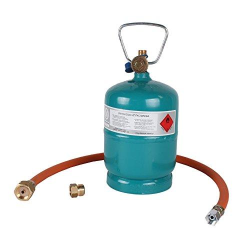Gasflasche Propan Butan Gas 1 kg + Adapter + Umfüllschlauch Aktionsset Leer befüllbar