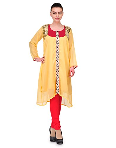 Cenizas Women Georgette Straight Kurta (Kurtis/2148/Beg/M _Beige _Medium)