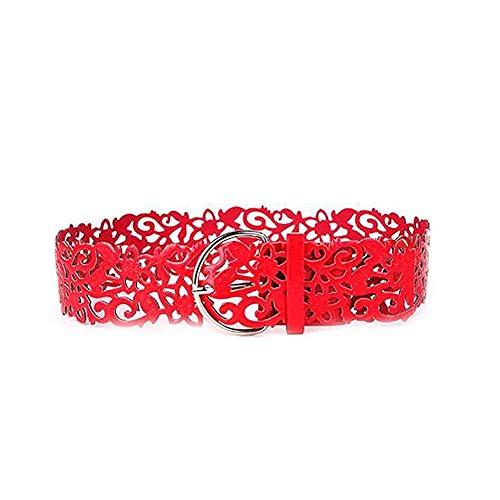ZYCX123 Frauen Taillen-Bügel-Dame Vogue elastischer breite Schnalle Hohl Dehnbund Korsett Gürtel(rot) -