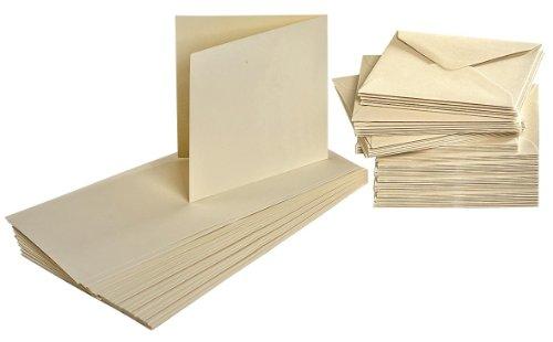 Doppelkarten und Umschläge, je 50 Stück, Karten-Set, cremefarben, quadratisch