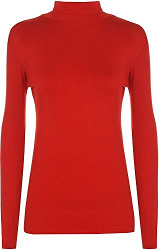 Generic -  Maglione  - Basic - Polo  - Lunga - Donna Red