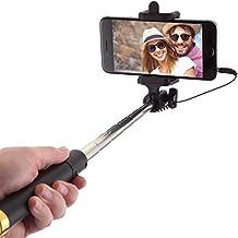 Palo Selfie Stick con Cable para Teléfonos Móviles Android, iPhone 6s, 6 Plus, 5, 5s, 5c, 4, 4s y Samsung Galaxy S3, S4, S5 S6 y S7 Edge Mini. No Precisa Batería ni Bluetooth, Extensible, Telescópico, No Necesita Configuración (Gold)