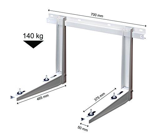 Michl Technik MTMS242 Wandkonsole Halterung Wärmepumpe, Klimagerät, Klimaanlage 140 kg, Weiß