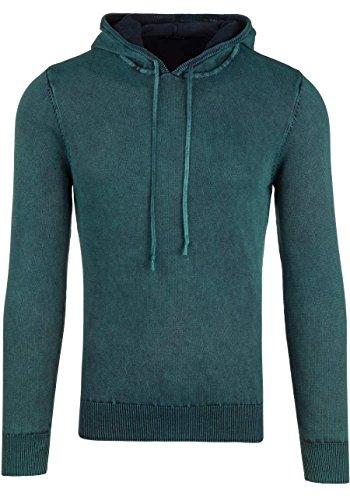 BOLF Strick Jacke Herrenpullover Streifen Hoodie Sweater Mix 1A1 Pulli Grün_R918