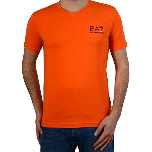 EA7 - Emporio Armani - T-Shirt orange col V stretch homme 273169 6P209