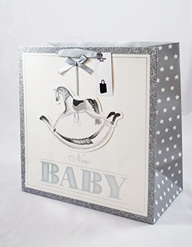 New Baby Gift Bag Medium Horse Silver White Gifts Presents Newborn Boys Girls