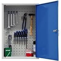 ADB Werkzeugschrank / Hängeschrank 1 Tür mit Fachboden, aus Metall mit verschließbarer Tür, Einlegeboden, Lochwand, kratzfeste Oberfläche, 75 x 50 x 20 cm