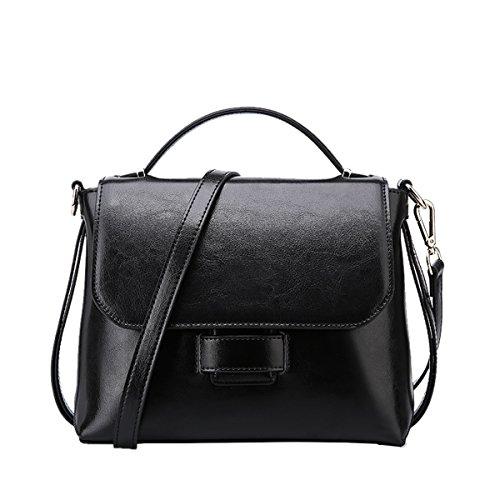 Dissa Q0865 Damen Leder Handtaschen Satchel Tote Taschen Schultertaschen Schwarz