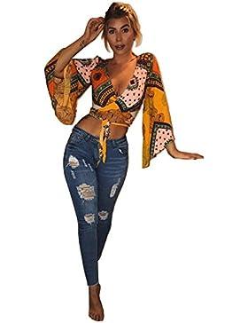 Longwu Las Mujeres Wrap Pecho Profundo Escote EN V Manga Larga de Gasa Front Tie Crop Top Corto Blusas Camisas