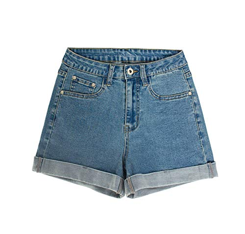 YJiaJu Denim Shorts Frauen Curling Sexy Shorts Heiße Junge Mädchen Frauen Dünne Hosen Frühling Und Sommer Frauen Neue Cuffed Hohe Taille Jeans (Color : Blue, Size : XXL) -