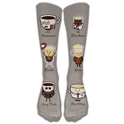 5066feccfd Pillowcase shop Coffee Personality Funny Cartoon Coffee Drink Types Knee  High Graduated Compression Socks For Women