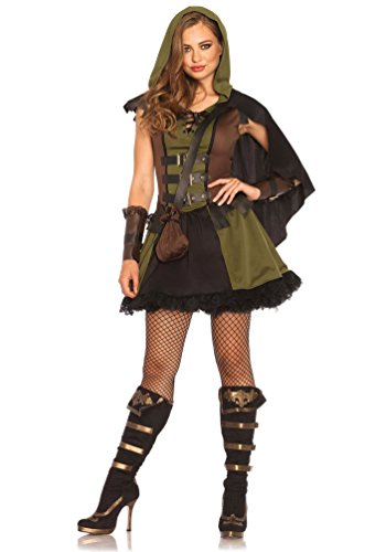 obin Hood Kostüm Damen sexy Damen-Kostüm Lady Marian grün-braun-schwarz Größe 38/40 (Räuber Kostüm Frauen)