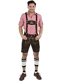 Herren Wiesnstern Lederhose - Original Trachtenlederhose Oktoberfest Velourleder - Trachtenhose Schöneberger