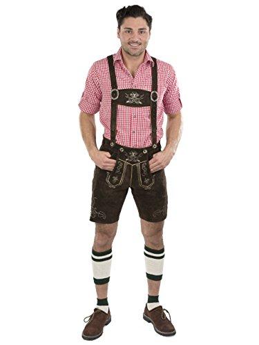 Herren Wiesnstern Lederhose Original Trachtenlederhose Oktoberfest Velourleder Original Leder Hose (50, dunkelbraun)