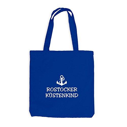 Jutebeutel - Rostocker Küstenkind - Anker Schiffsanker Küste Maritim Royalblau
