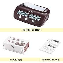 Nowakk Reloj de ajedrez Digital Compacto Profesional Cuenta hacia Arriba Temporizador de Bajada Bono de Juego