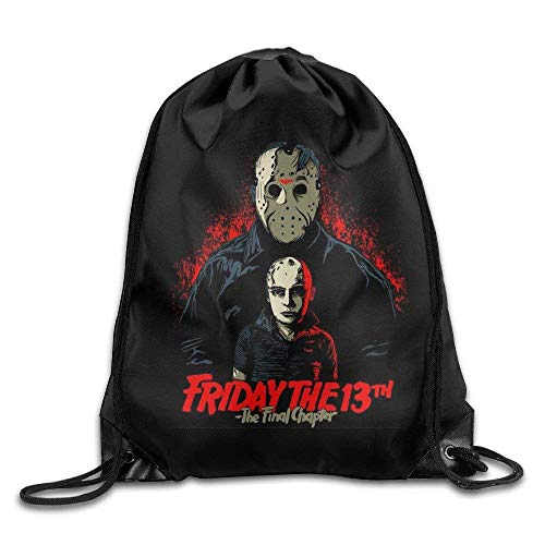 Dhrenvn Halloween-Friday The 13th Nylon Drawstring Backpack Home Travel Sport Storage (Halloween Friday 13th)
